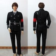 Perucas Аниме Togainu no Chi Akira косплей костюм военная форма включает топ+ брюки+ рубашка+ ремень+ галстук