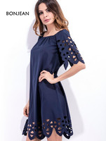 Free Shipping 2017 One Hand Collar Braised Hollow Sexy Flower Dress Spot