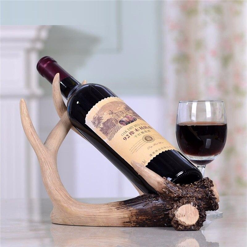 Resin Deer Antlers Red Wine Bottle Holder Table Rack Ornament Home