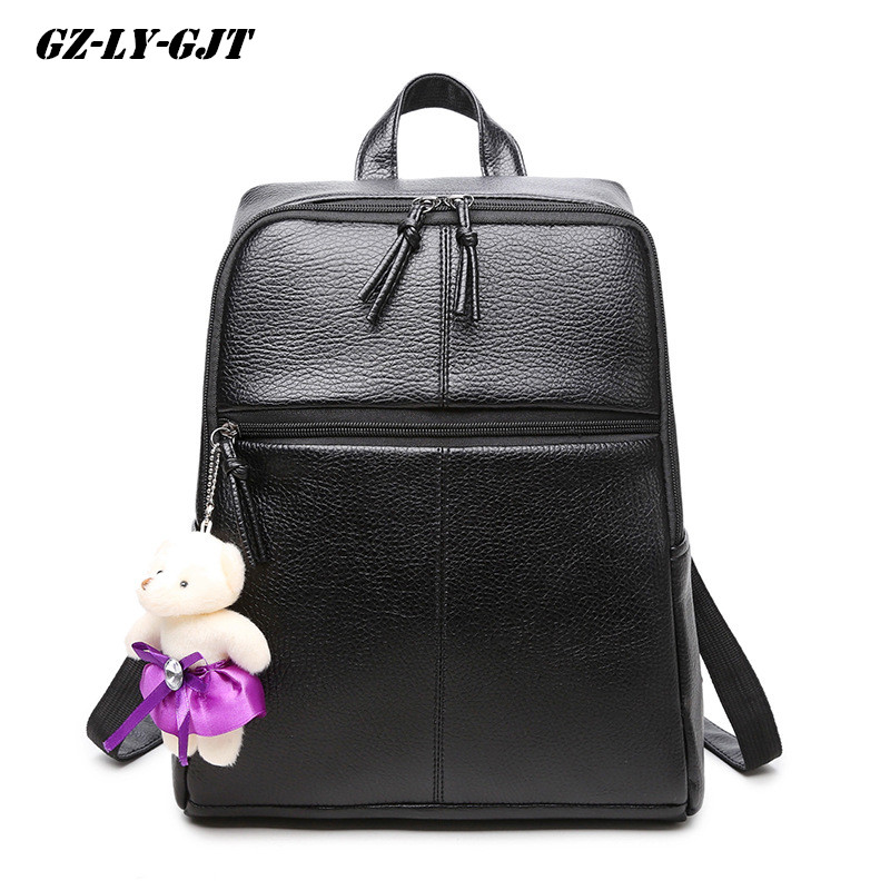 GZ LY GJT Famous Brand Fashion Backpack PU Leather School Bag For Women Back Pack Leisure