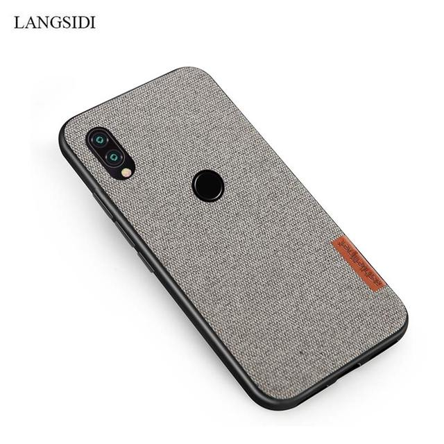 LANGSIDI Canvas Cases for Xiaomi Redmi Note 7 Note5 Note7 Pro Cloth Fabric Phone case For Xiaomi Mi 9 8 Explore A2 back Cover