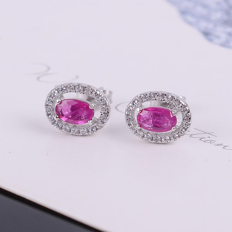 Simple silver ruby stud earrings for wedding 3mm * 5 mm natural ruby earrings solid 925 sterling silver ruby jewelry for office путь ruby