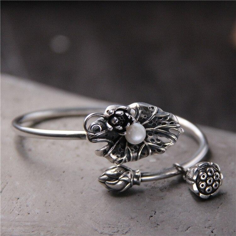 S925 Sterling Silver Bracelet Inlaid Pearl Bracelet Silver Lotus Pendant Opening Female Bracelet silver pearl twisted open bracelet