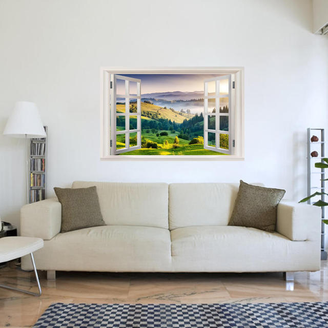3D Landscape Wall Sticker DIY Window Wallpaper Brightly Colourful Sunrise Lifelike Painting Wall Decals Poster Vinilos & 3D Landscape Wall Sticker DIY Window Wallpaper Brightly Colourful ...