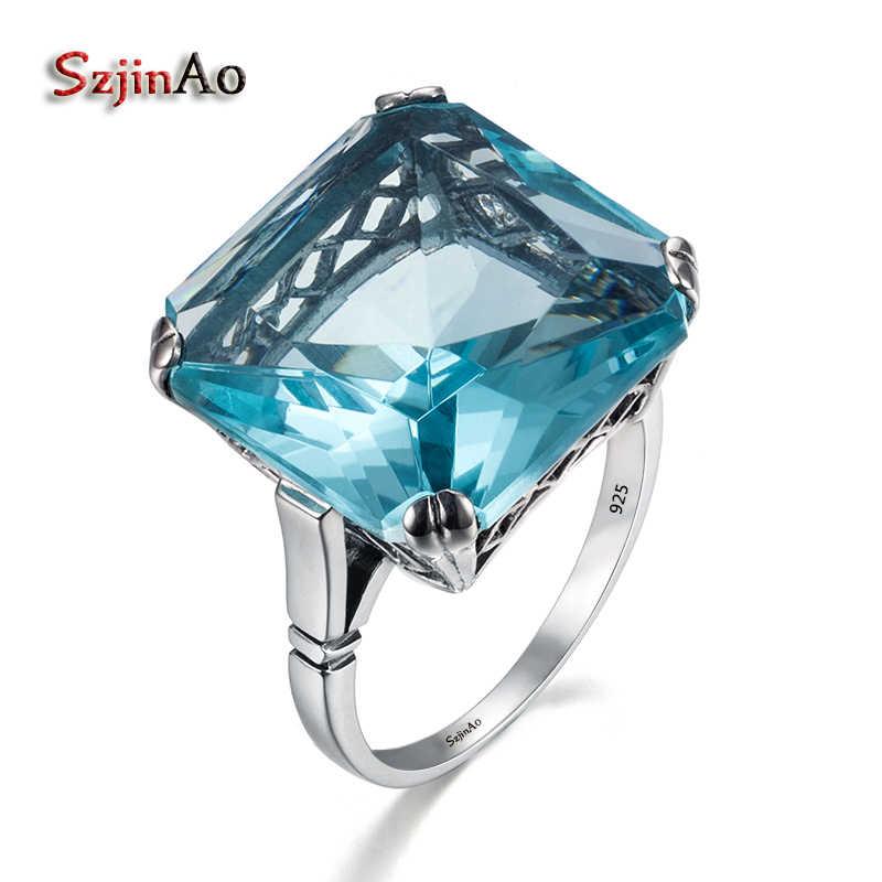 Anillo de plata sólida 925 clásico Szjinao de gran calidad para mujer, anillo cuadrado de piedras preciosas de Aguamarina azul, joyería al por mayor