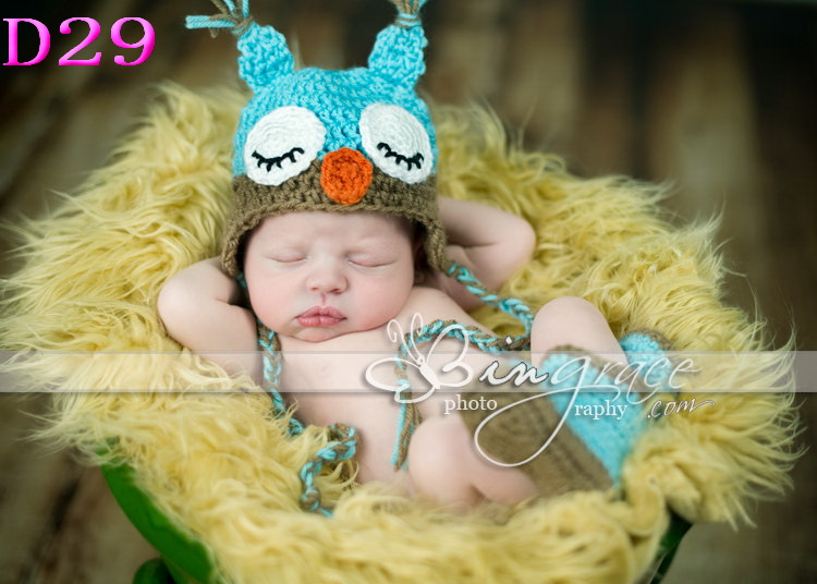 New crochet newborn baby hat Animal Hat Owl Newborn baby photo props caps with earflaps Baby Beanie