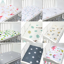 Newborn Baby Crib Fitted Sheet Soft Breathable Baby Bed Mattress Cover Potector Cartoon Newborn Bedding For Cot Size 130*70cm(China)