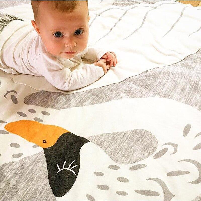 95 см с рисунком лебедя детское одеяло хлопок пеленать меня Ползания коврик для игр круглый Одеяло Ковры Детская комната украшения Постельн...