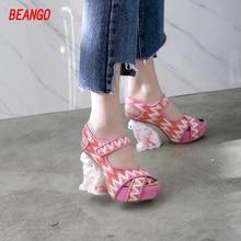 BEANGO runway shoes 2017 summer new cat strange super high heels women sandal platform bling cloth hook loop party wedding pumps