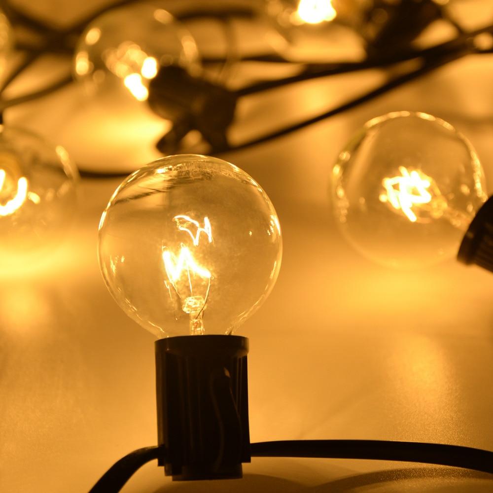 25 verre clair Festoon Ball Vintage G40 Globe ampoule extérieure applique chaîne lumière Patio jardin fête mariage décoration éclairage