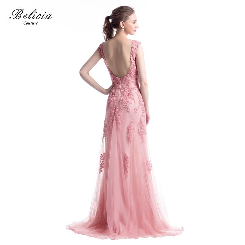 Belicia Couture Women Sleeveless Backless Tulle Mermaid Beading Lace Evening  Dresses Party Prom Dress with Small Trailing Tail-in Evening Dresses from  ... 8aae7976e353