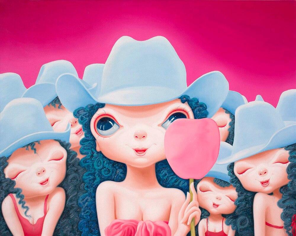 Pas encadré Jiang Wen Tao coeur fille imprimé peinture peinture à l'huile par numéros décor à la maison mur Art photo pour salon