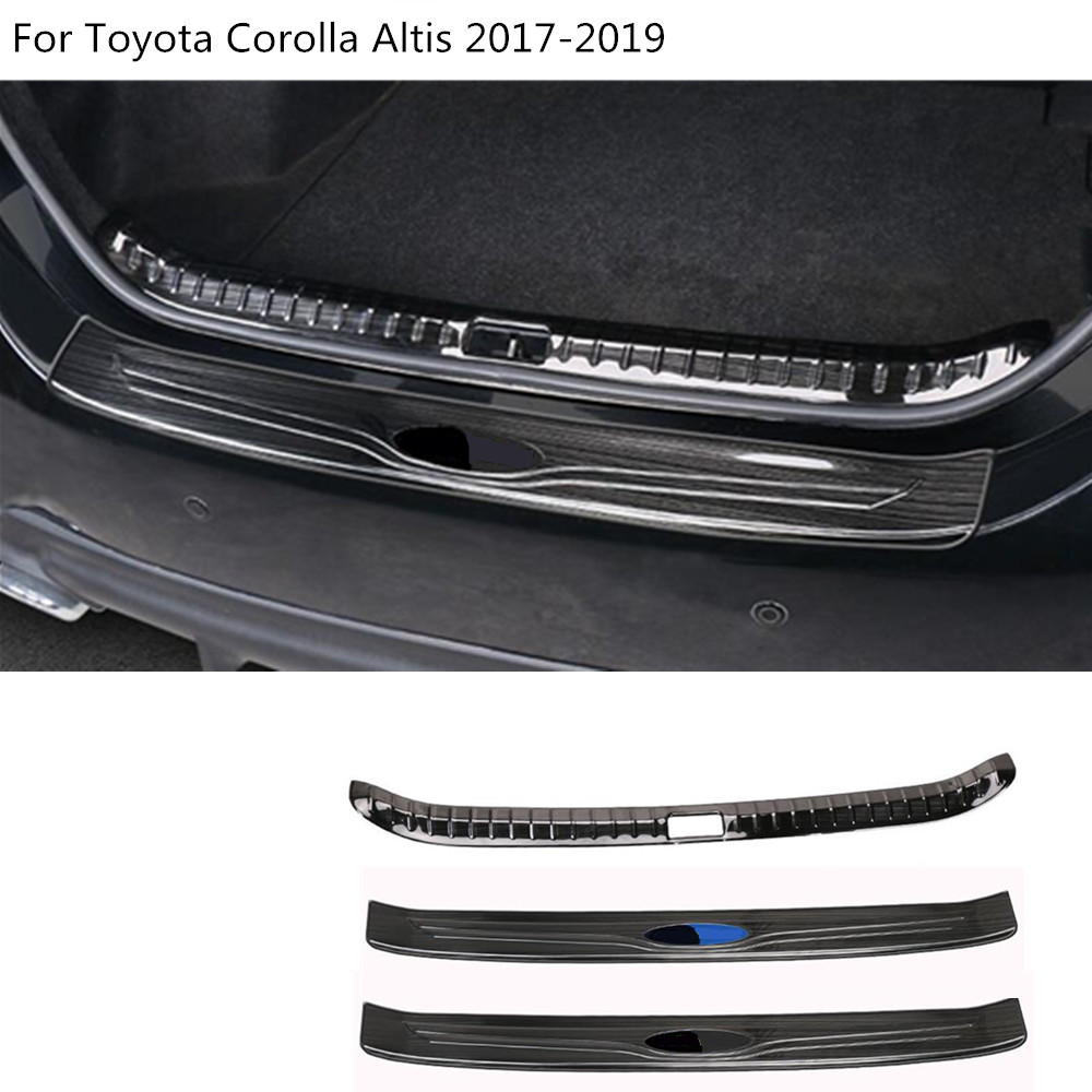 Car styling outside external rear back bumper trunk trim inner internal plate pedal For Toyota Corolla Altis 2017 2018 2019