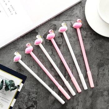Kawaii Stationery Cartoon Swan Gel Ink Pen Pink White Bird Flamingo 0 5mm Black Writing Pens School Office Supplies Kids Gift With A Cashback