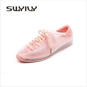 Image 5 - Swyovy zapatillas de deporte con cristales para mujer, zapatos femeninos de plástico brillante, informales, para otoño, 2018