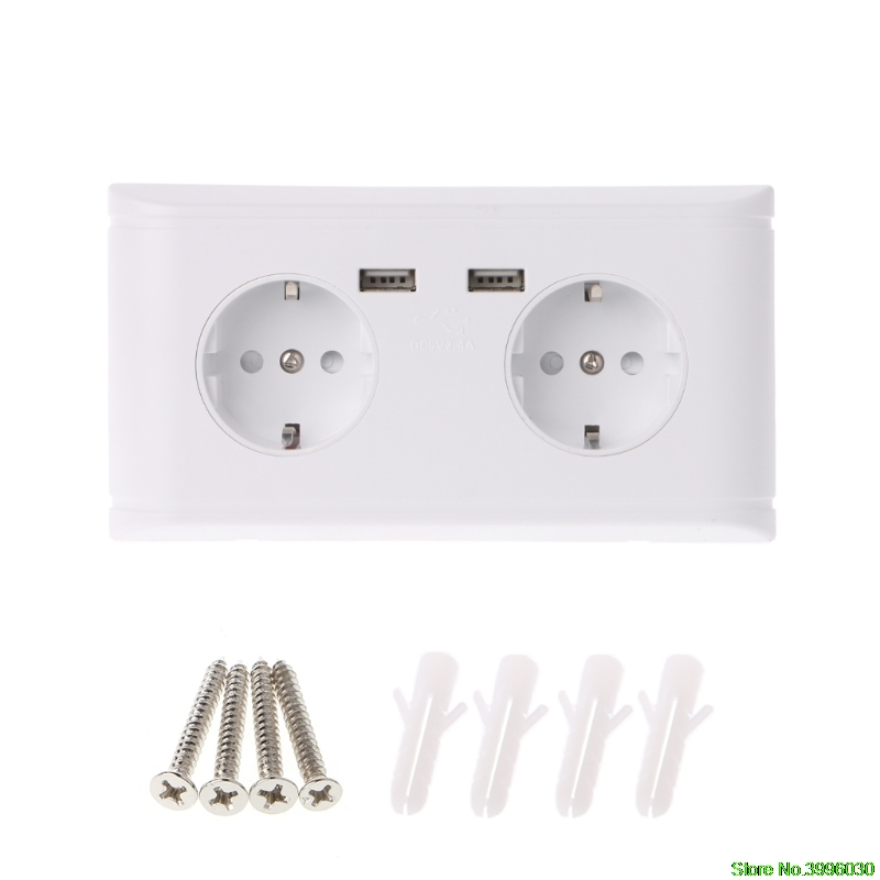 все цены на 16A WallDouble Socket Charger Adapter Double USB Ports EU Plug Power Outlet Panel онлайн