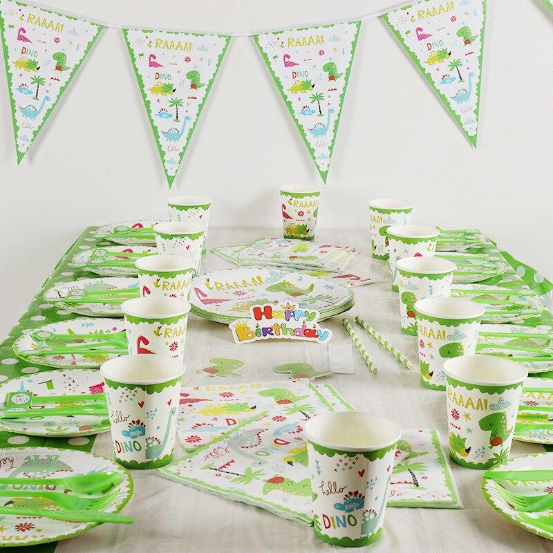129 Stks/partij Kleine Dinosaurus Kinderen Verjaardagsfeestje Decoraties Kids Evnent Feestartikelen Verjaardag Servies Sets Party Gunsten