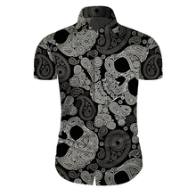 Cloudstyle Skull Printed Shirt Men Clothing Hawaiian Casual Slim Fit Floral Shirts Camisas Hombre Short Sleeves 5XL