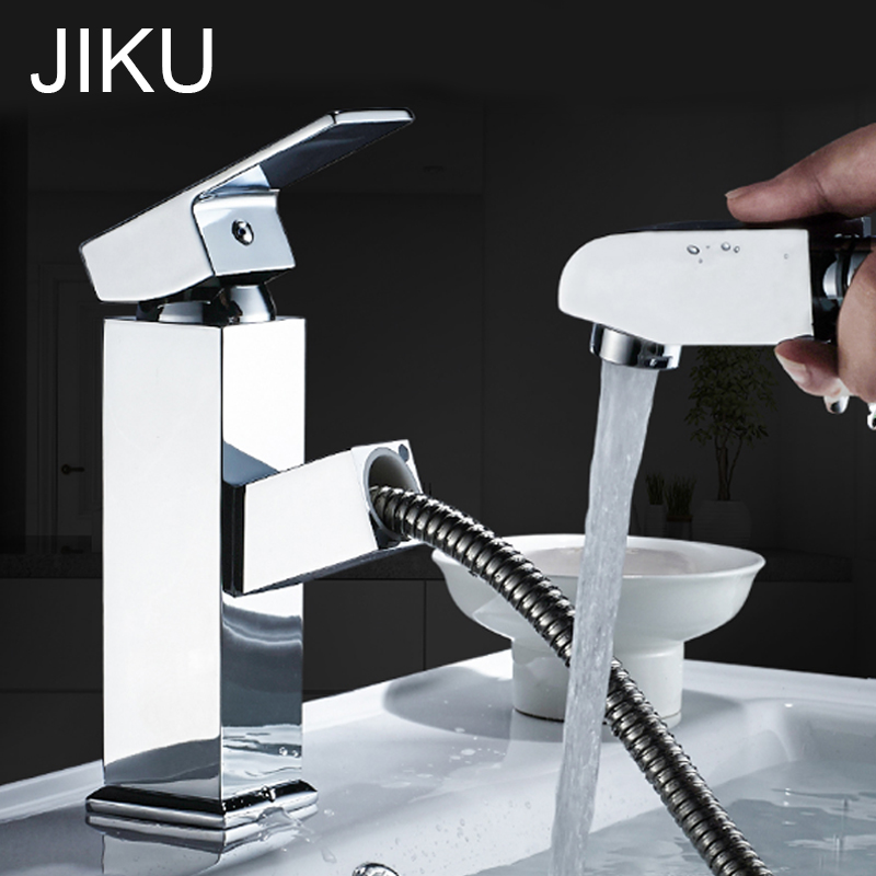 JIKU Kitchen Faucet Bathroom Basin Faucet Single Handle Single Hole Mixer Tap Deck Mounted Hot And