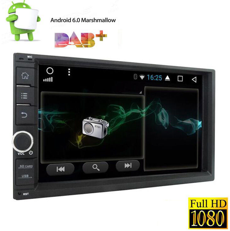 Android 6.0 7 Двойной Дин Радио стерео HD без dvd-плеер GPS nav БД 1024*600
