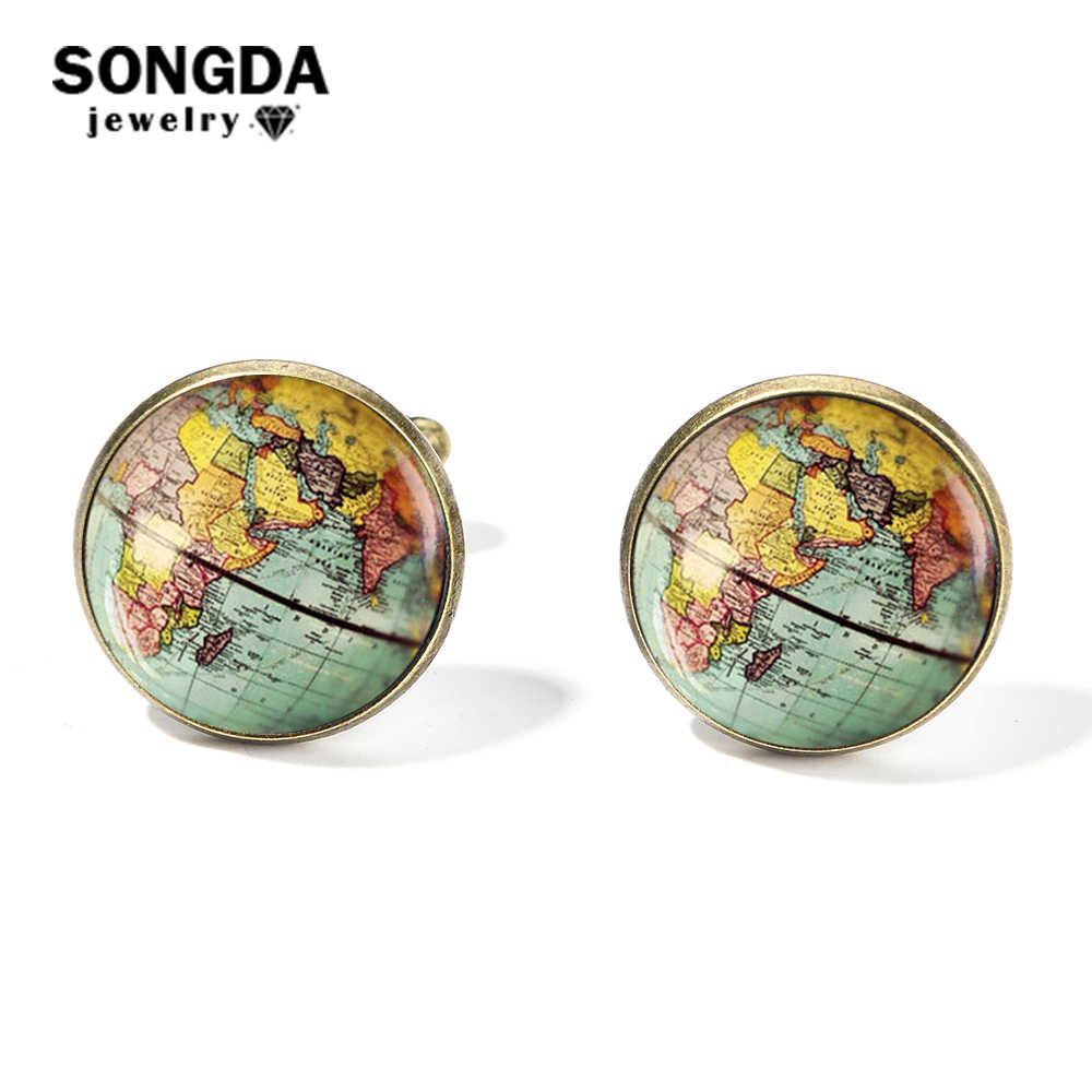 SONGDA Vintage mapa świata spinki do mankietów Globe Planet Art Photo Crystal Glass Dome mankiet do koszuli linki dla mężczyzn spersonalizowane Gemelos