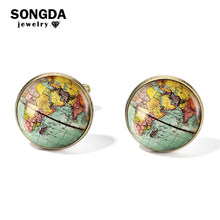 SONGDA Vintage Earth World Map Cufflinks Globe Planet Art Photo Crystal Glass Dome Shirt Cuff Links for Men Personalized Gemelos(China)