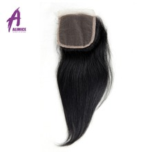 Alimice Hair Brazilian Straight Hair Closure Non Remy 4X4 Free Part Lace Closure 120 Density Natural
