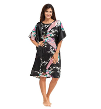Sexy New Black Chinese Women Silk Nightgown Summer Short Sleeve Rayon Robe Dress Gown Printed Floral Sleepshirt Oversize A-075