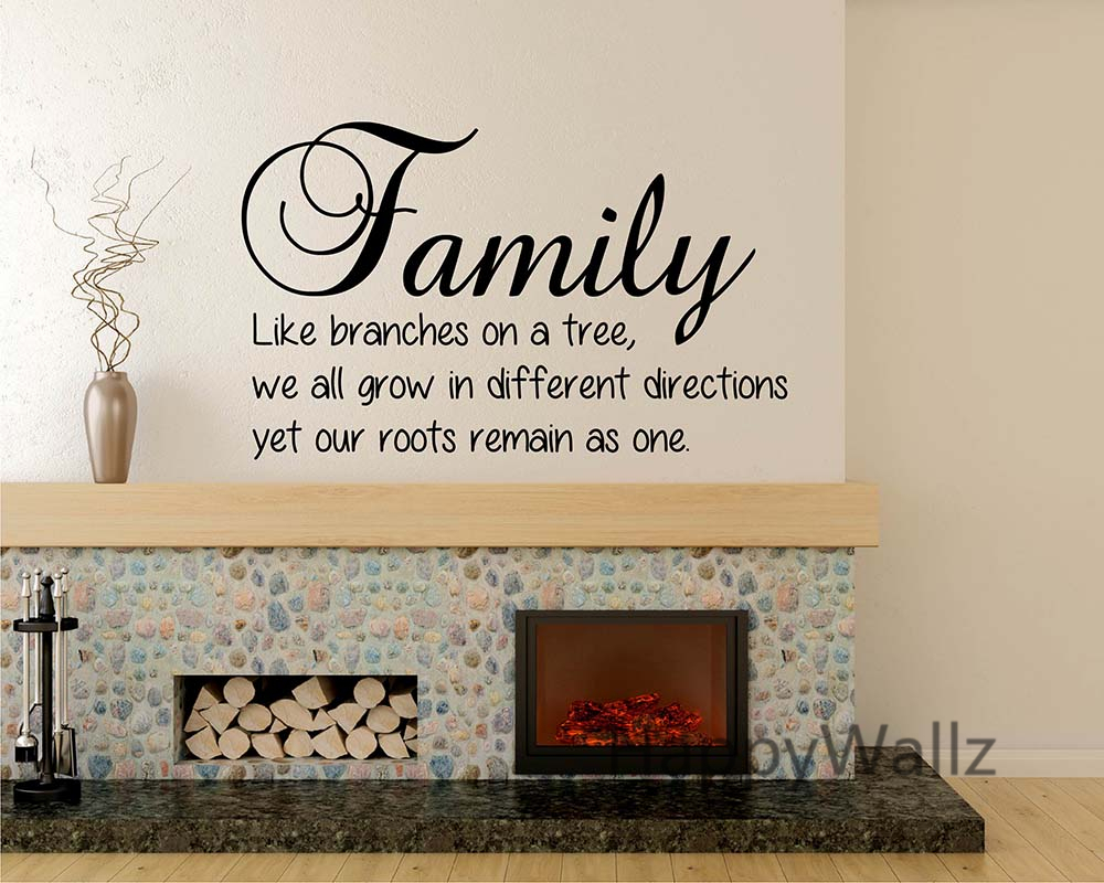 Family Quote Wall Sticker Family Branches On Tree Roots As One DIY Family  Lettering Wall Quote