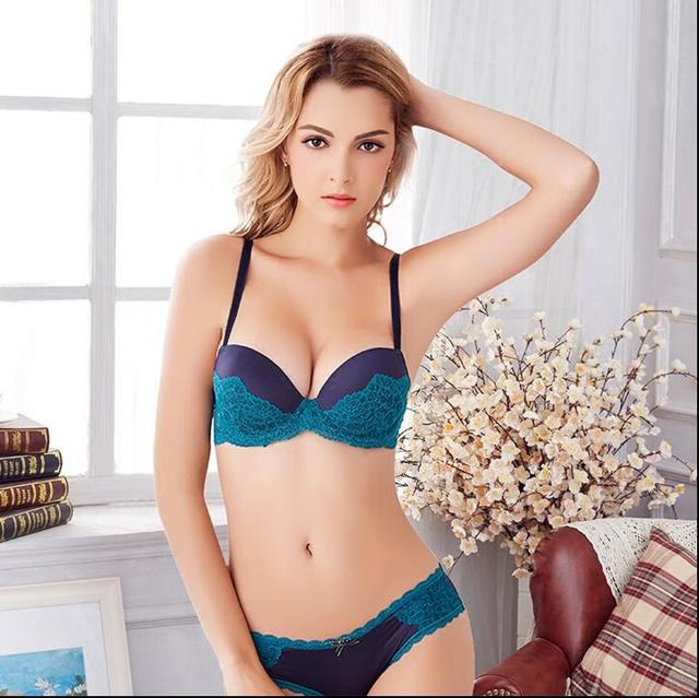 3571b86fe8 Fashion Sexy Lace Bra Set Push up Lingerie Women Underwear Sets Intimates  Thick Thin Cup Contrast Colour Gathering Bra yw194