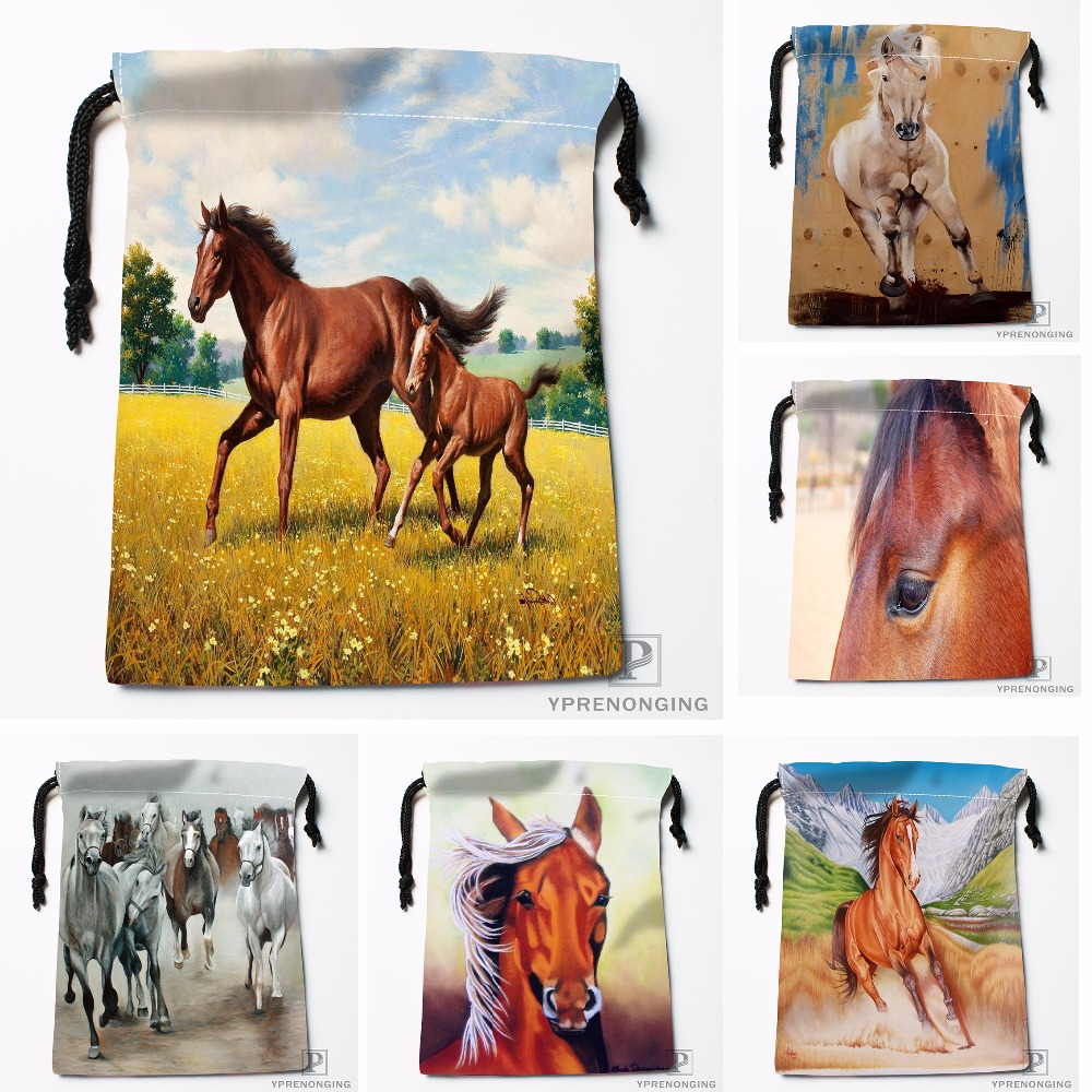 Custom Horse Colt Painting Meadow Drawstring Bags Travel Storage Mini Pouch Swim Hiking Toy Bag Size 18x22cm#0412-04-220