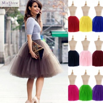6 Layers Women Tulle Adult Tutu Skirt Summer Flare Puffy Pettiskirt Princess Ballet Party Dance Prom Gown