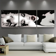 Canvas HD Prints Pictures Wall Art Abstract Posters 3 Pieces Sexy Marilyn Monroe Paintings Home Decor For Living Room Framework(China)