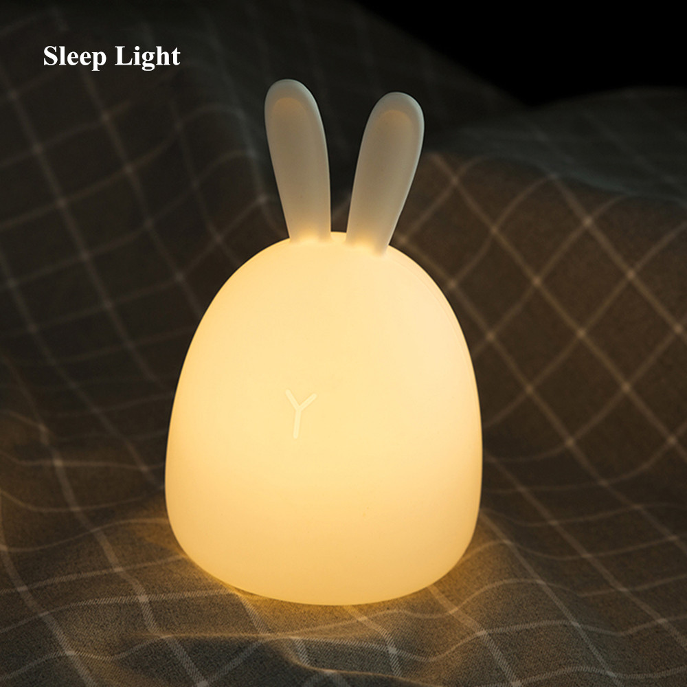 SuperNight Rabbit LED Night Light Vibration Touch Sensor Colorful USB Silicone Bunny Bedside Table Lamp for Children Kids Baby (10)