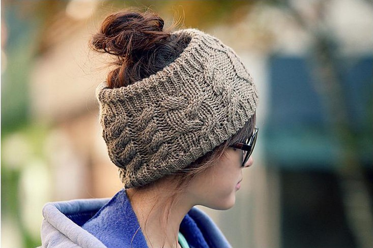 Fashion Crochet Top Open Beanie Headband Style For Ponytail 8594c946d26