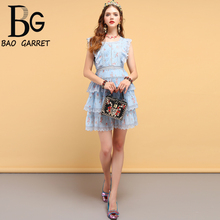 Baogarret Fashion Designer Summer Dress Womens Hollow Out Ruffles Pleated Floral Printed Elegant Vintage Cupcake Dresses