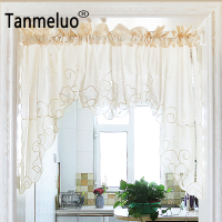 Roman Curtain Fashion Crochet White And Beige Retro Big Hem Christmas Curtain Triangular Curtain For Kitchen
