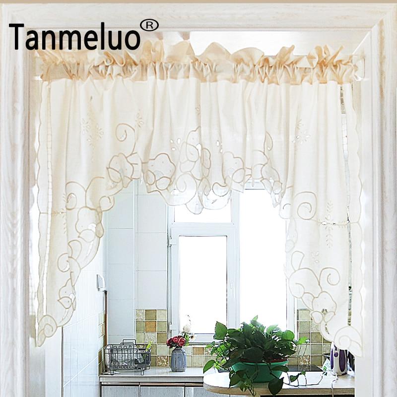 Roman Curtain Fashion Crochet White And Beige Retro Big Hem Christmas Curtain Triangular Curtain For Kitchen Cabinet Door