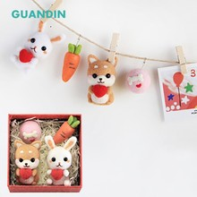 GUANDIN,Cartoon Couple Hemp Rope Ornaments Wool Felt Pokes Novice Handmade DIY kit Can be used for Car Pendants 1Piece/Pack(China)