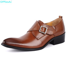 Brand 100% Genuine Leather Slip On Men Dress Shoes Business Shoes Luxury High Quality Monk Strap Italian Dress Shoes