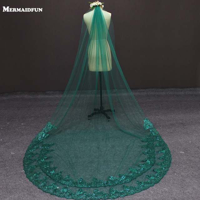 2019 Real Photos 3 Meters One Layer Bling Sequins Lace Green Wedding Veil With Comb Beautiful Bridal Veil for Wedding