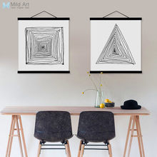 Black White Abstract Zen Line Wooden Frame Poster A4 Nordic Living Room Wall Art Canvas Painting Home Decor Print Picture Scroll(China)