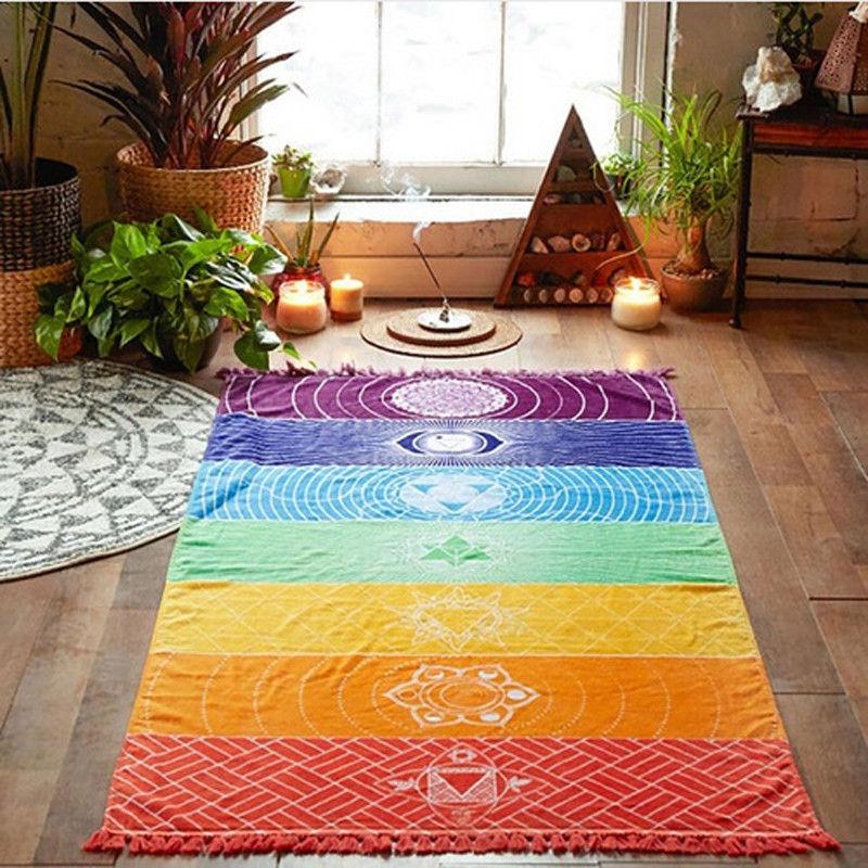Dropship! Single Rainbow Chakra Tapestry Towel Carpet Mandala Boho Stripes Travel Yoga Mat Outdoor Mats 150x70cm/100x45cm 17