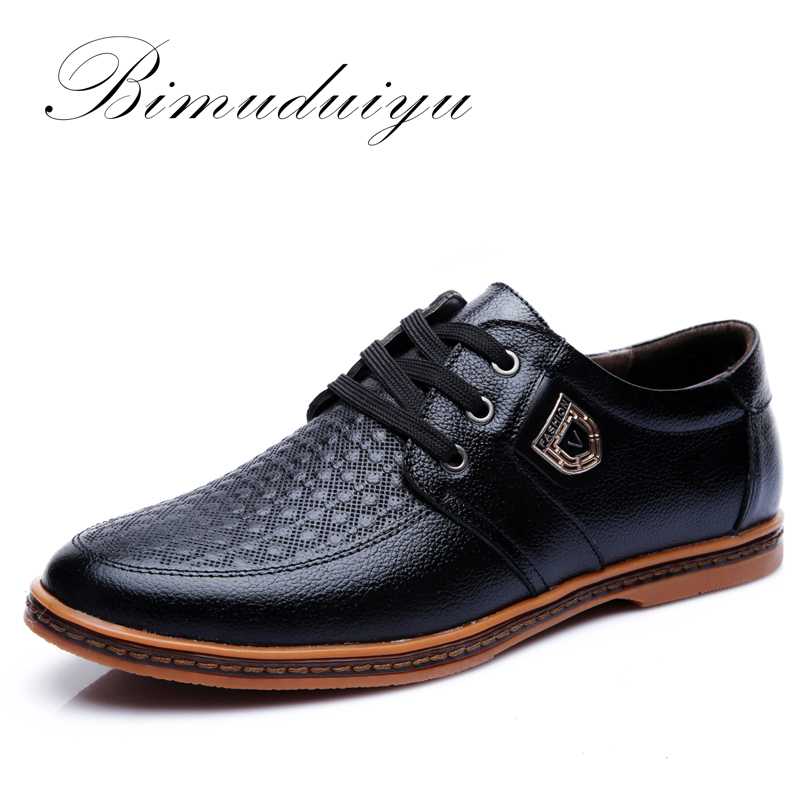 BIMUDUIYU Wear-resisting Casual Shoes Breathable lace-up Genuine Leather Shoes Fashion Oxford Male Comfortable Sneakers Shoes