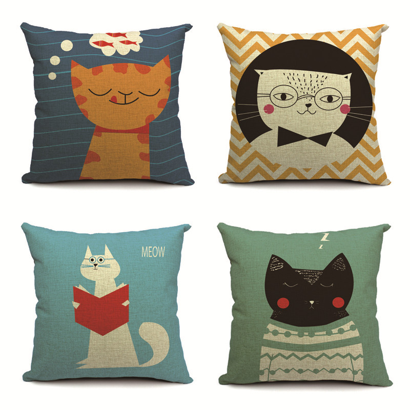 Animal Cat Creativity Cushion Pillow Fish Stripe Cloud Cover Pillow Boho Family For Living Room Dakimakura 45X45Cm Burlap Custom