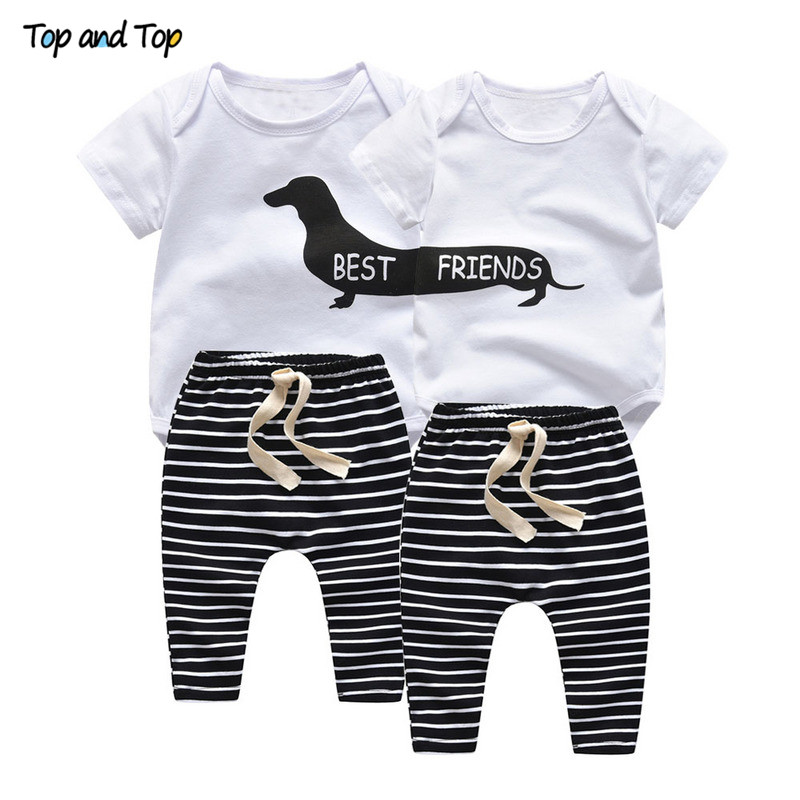 Outfits Jogging-Pant Toddler Baby Short-Sleeve Matching Striped Cute And Summer Sister