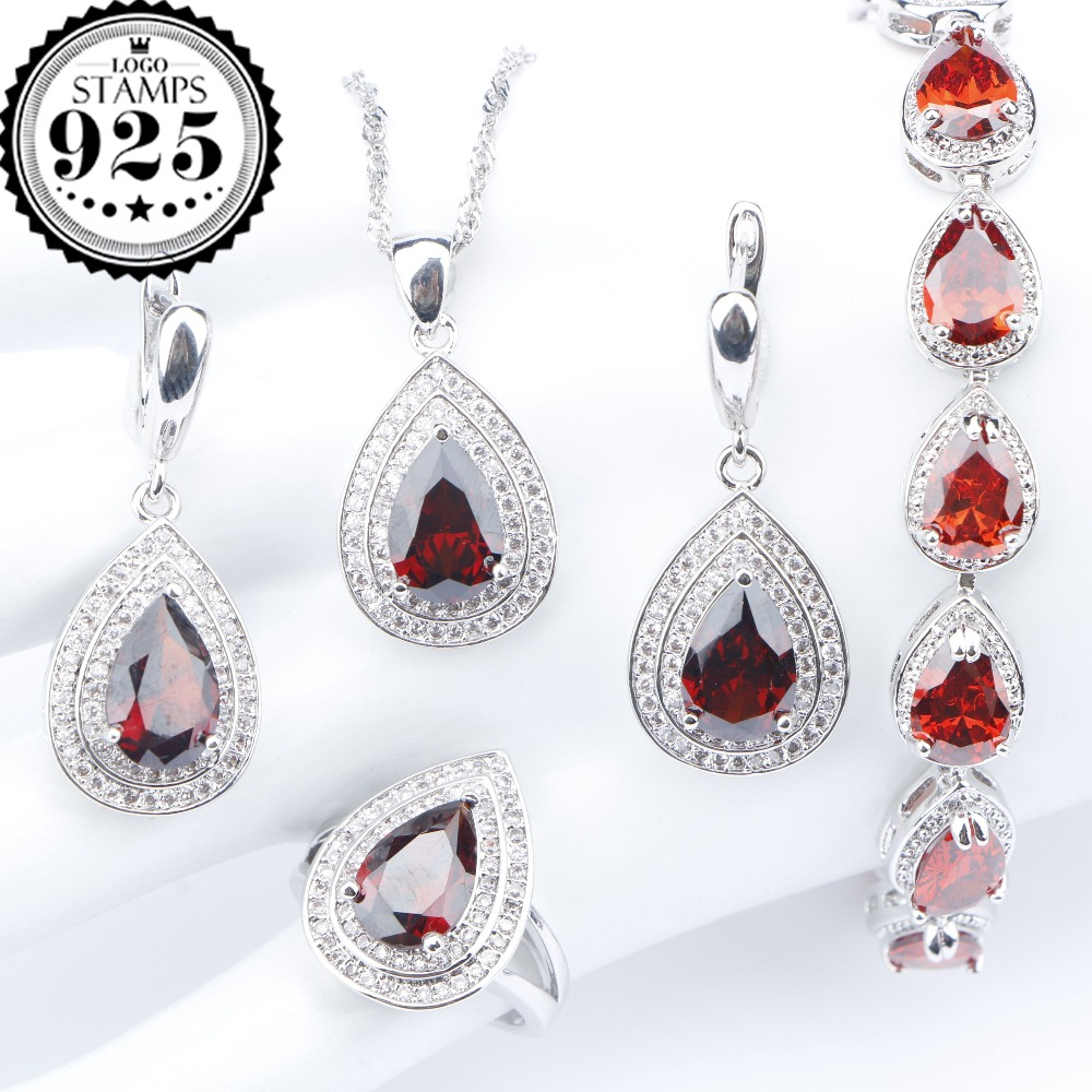 Bridal Silver 925 Costume Jewelry Sets Red Zirconia Bracelets Pendant Necklace Earrings Rings For Women Set Jewellery Gift Box orange morganite stylish jewelry set for women white zircon gold color rings earrings necklace pendant bracelets