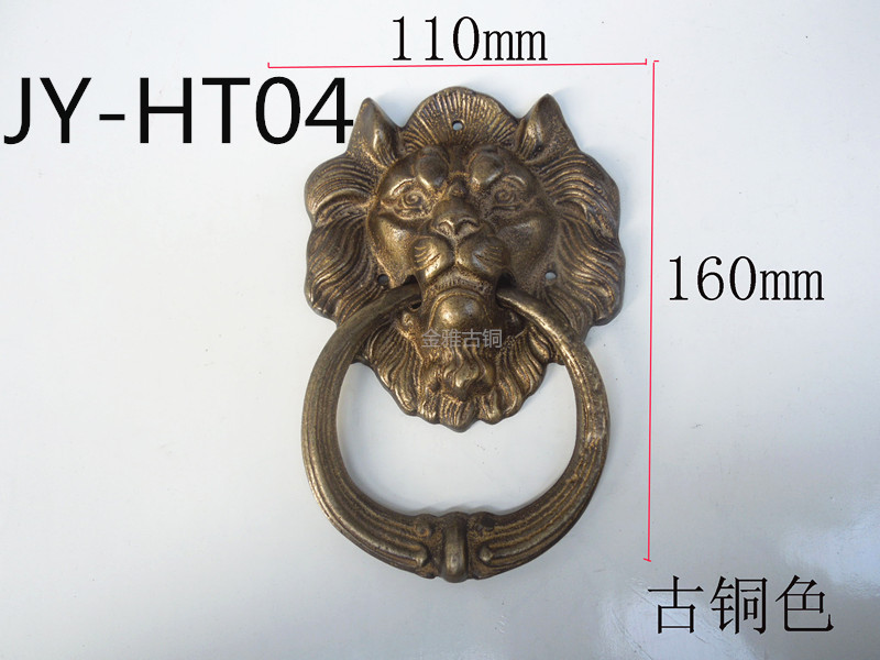 Antique copper door handle handle Chinese decorative copper lion head copper handle mahogany furniture china brass copper fengshui guardian town house evil foo dog lion statue pair