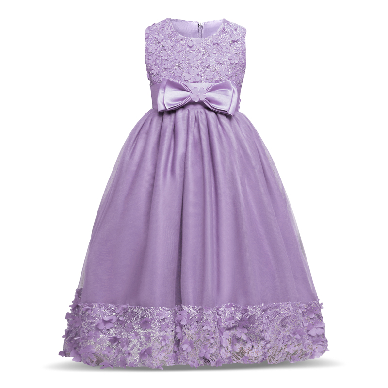 2017 New Summer Baby Flower Girl Dress Elegant Princess Dresses Bow Tie Evening Dresses Wedding Clothes For 4 to 10 Years girls h16 2013 hot baby summer new design stylish and elegant multi layered lace roses very beautiful girl in evening dress