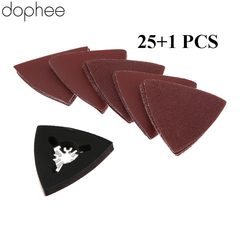 Dophee 25Pcs 83mm Sanding Paper +1Pc 80mm Triangular Sanding Pad Fits For Fein Dremel Multifunction Oscillating Multi Tools